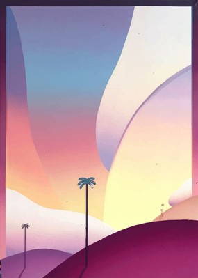 Poster «Palm trees in the evening»