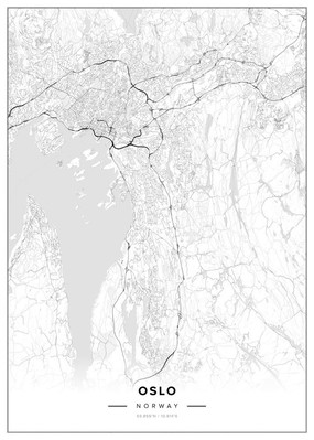 Map of Oslo B/W