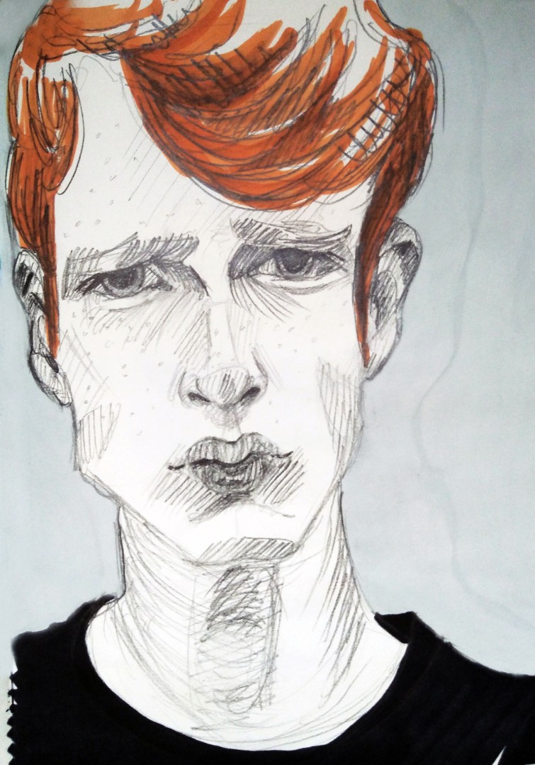 Portrait of a red-haired man, poster